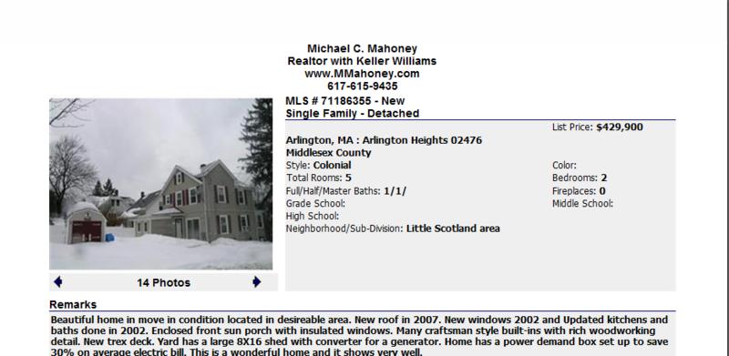 Arlington Mass Single Family Home for Sale