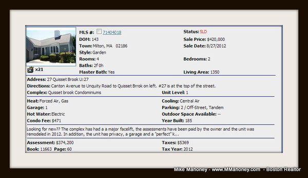 Quisset Brook Condo Association In Milton Mass 02186 The
