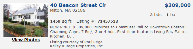 Milton Mass Real Estate Listing