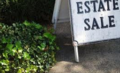 This is an image of an estate sale sign in Brookline Mass